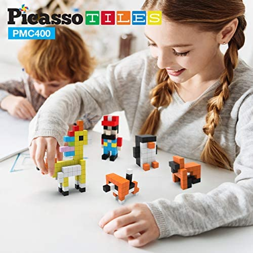 51wEmiEsHdL. AC  - PicassoTiles Mini Pixel Magnetic Puzzle Cube 400 Piece Mix & Match Cubes Sensory Toys STEAM Education Learning Building Block Magnets Children Construction Toy Set Stacking Magnet Creative Kit PMC400