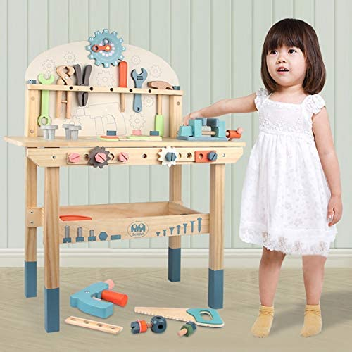 51x B nZGuL. AC  - Wooden Power Tool Workshop for Toddlers, Building Tools Sets Pretend Play Toys - Construction Workbench with Wrench, Screwdriver, Miter Saw and Hammer - Educational Gift for Kids Age 3 and Up