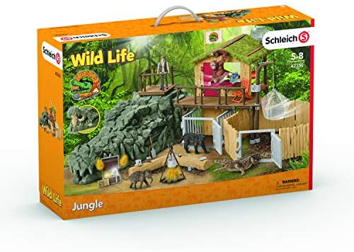 51y4Sy6q2iL. AC  - Schleich Wild Life Crocodile Jungle Research Station with Jungle Animals 69-piece Playset for Kids Ages 3-8