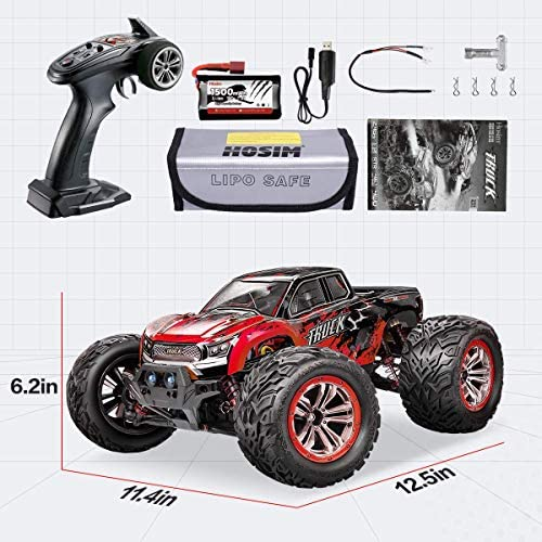 51z7F2jzl9L. AC  - Hosim 1:12 Scale 46+ kmh High Speed RC Cars - Boys Remote Control Cars 4WD 2.4GHz Off Road RC Monster Trucks for Adults Kids.Electric Power Radio Control Cars Gift for Children (Red)