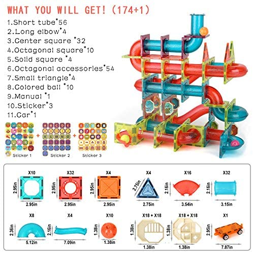 51zW9q5gbkL. AC  - MAMABOO Magnetic Tiles Set 174 Piece Pipe Magnetic Building Blocks with Car for Kids 3D Clear Magnets Educational Toys Marble Run STEM Toy for Children Kids Boys Girls Age 3 4 5 6 7 8+ Year Old