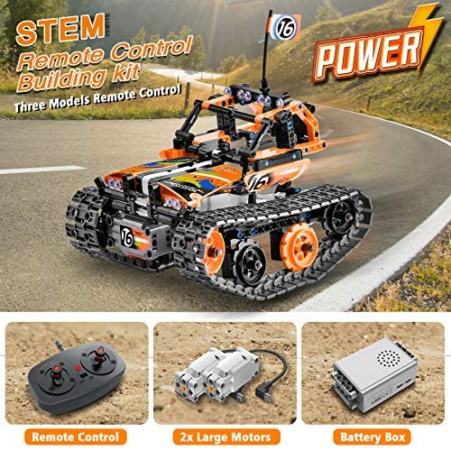 610RX7RZLpL. AC  - OASO Remote Control STEM Building Kit for Boys 8-12, 392 Pcs Science Learning Educational Building Blocks for Kids, 3 in 1 Tracked Racer RC Car/Tank/Robot Toys Gift Sets for Boys Girls