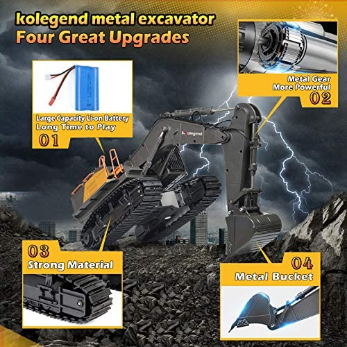 611o1 uatvL. AC  - kolegend Remote Control Excavator Toy 1/14 Scale RC Excavator, 22 Channel Upgrade Full Functional Construction Vehicles Rechargeable RC Truck with Metal Shovel and Lights Sounds