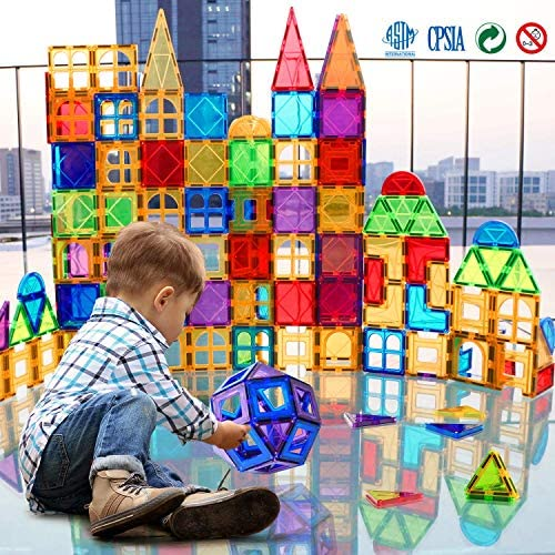618i4MH+m1L. AC  - Magnet Building Tiles 130 Pcs 3D Toys Magnets Magnetic Blocks Set Preschool Toys Gifts for 3 4 5 Years Old Age Boys Girls and Toddlers.