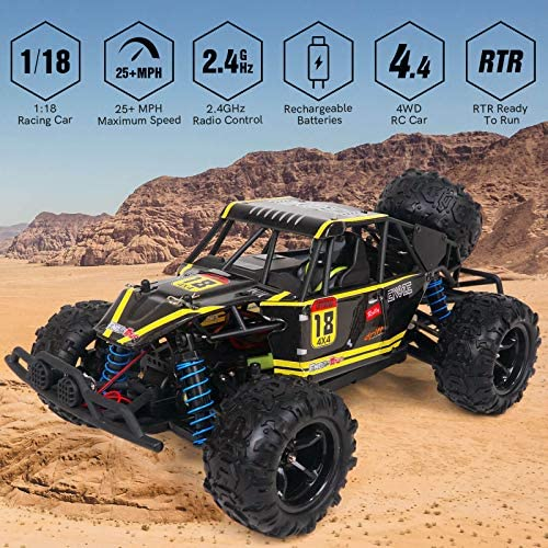 61B0VphB5oL. AC  - WOWRC Remote Control Car 1:18 RC Trucks, 2.4Ghz 4WD Off Road Rock Crawler Vehicle High Speed Racing All Terrains Rechargeable Electric Toy for Boys & Girls Gifts