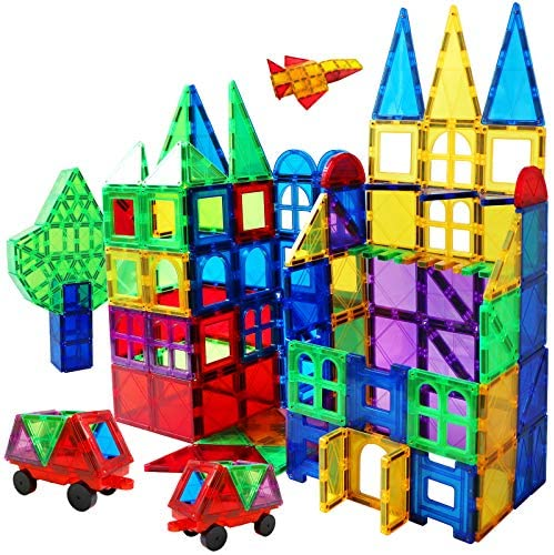 61CEFPT8PkL. AC  - Magnet Building Tiles 130 Pcs 3D Toys Magnets Magnetic Blocks Set Preschool Toys Gifts for 3 4 5 Years Old Age Boys Girls and Toddlers.