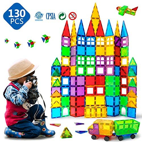 61CY0QgkqvL. AC  - Magnet Building Tiles 130 Pcs 3D Toys Magnets Magnetic Blocks Set Preschool Toys Gifts for 3 4 5 Years Old Age Boys Girls and Toddlers.