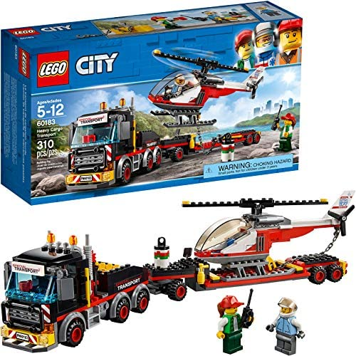 61N0ssKPBJL. AC  - LEGO City Heavy Cargo Transport 60183 Toy Truck Building Kit with Trailer, Toy Helicopter and Construction Minifigures for Creative Play (310 Pieces) (Discontinued by Manufacturer)
