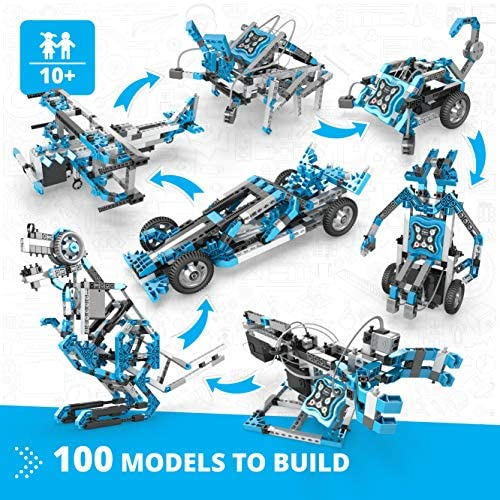 61O1JGge8fL. AC  - Engino Toys - Creative Engineering Maker Pro Robotized 100 Models Set | Robotics and STEM Activities | for Ages 10+ (CE101MP-A)