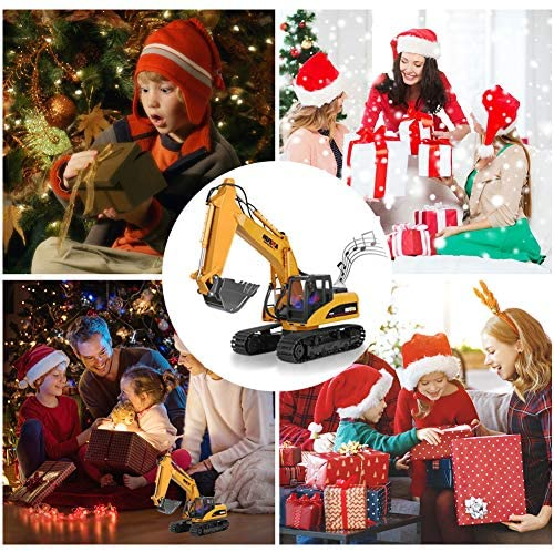 61OtY9qOyUL. AC  - KKNY Remote Control Excavator Toy 1/14 Scale RC Excavator 15 Channel 2.4Ghz Full Functional Construction Vehicles RC Truck with Lights Sounds Xmas Gift for Boys Kids(Upgrade) (1:14-1)