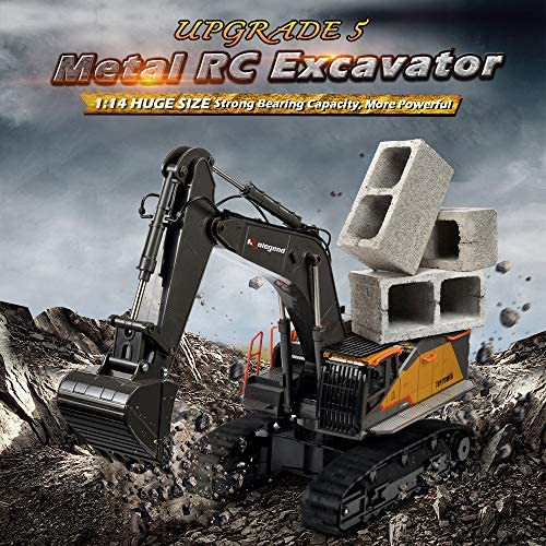 61QGvW69CAL. AC  - kolegend Remote Control Excavator Toy 1/14 Scale RC Excavator, 22 Channel Upgrade Full Functional Construction Vehicles Rechargeable RC Truck with Metal Shovel and Lights Sounds