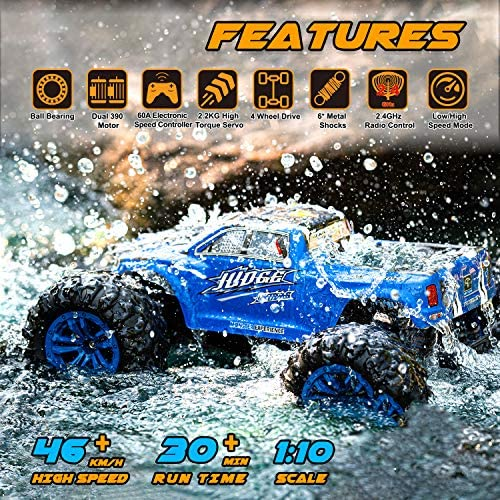 61QKx6bDxoL. AC  - Soyee RC Cars 1:10 Scale RTR 46km/h High Speed Remote Control Car All Terrain Hobby Grade 4WD Off-Road Waterproof Monster Truck Electric Toys for Kids and Adults -1600mAh Batteries x2