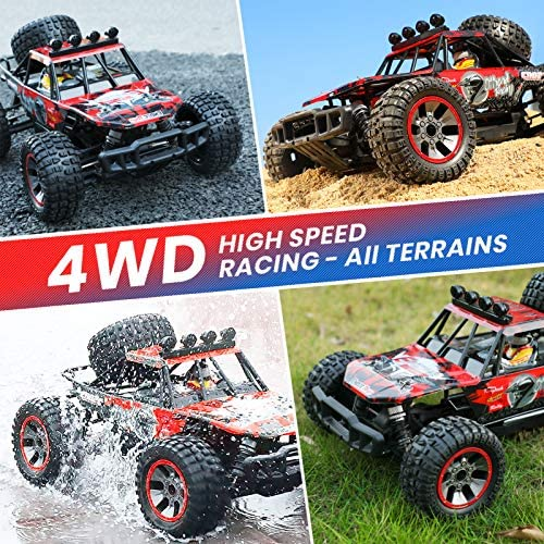 61UG+ EjoLL. AC  - RC Cars, 1/10 Scale Large High-Speed Remote Control Car for Adults Kids, 48+ kmh 4WD 2.4GHz Off-Road Monster RC Truck, All Terrain Electric Vehicle Toys Boys Gift with 2 Batteries for 40+ Min Play