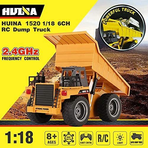 61V4zqYJfDL. AC  - Remote Control Construction Dump Truck Toy 2.4G RC Truck 6 Channel Bulldozer 4 Wheel Driver Mine Construction Alloy Metal Vehicle Truck 1:18 with 2 Rechargeable Batteries for Boys Birthday Xmas Gift