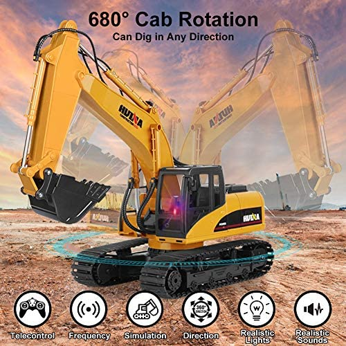 61Y2hsiLp6L. AC  - KKNY Remote Control Excavator Toy 1/14 Scale RC Excavator 15 Channel 2.4Ghz Full Functional Construction Vehicles RC Truck with Lights Sounds Xmas Gift for Boys Kids(Upgrade) (1:14-1)