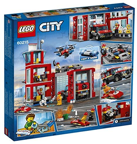 61bX3kTosoL. AC  - LEGO City Fire Station 60215 Fire Rescue Tower Building Set with Emergency Vehicle Toys Includes Firefighter Minifigures for Creative Play (509 Pieces)