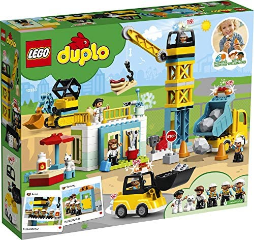 61buPCdwNnL. AC  - LEGO DUPLO Construction Tower Crane & Construction 10933 Exclusive Creative Building Playset with Toy Vehicles; Build Fine Motor, Social and Emotional Skills; Gift for Toddlers, New 2020 (123 Pieces)