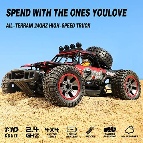 61cxIkCbslL. AC  - RC Cars, 1/10 Scale Large High-Speed Remote Control Car for Adults Kids, 48+ kmh 4WD 2.4GHz Off-Road Monster RC Truck, All Terrain Electric Vehicle Toys Boys Gift with 2 Batteries for 40+ Min Play
