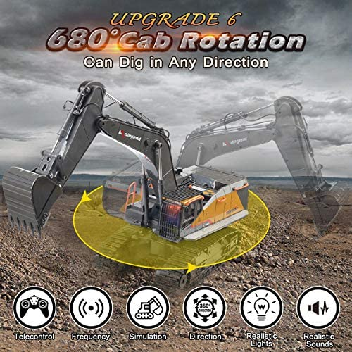 61d45 mDt8L. AC  - kolegend Remote Control Excavator Toy 1/14 Scale RC Excavator, 22 Channel Upgrade Full Functional Construction Vehicles Rechargeable RC Truck with Metal Shovel and Lights Sounds