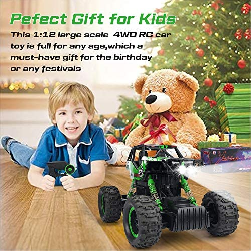 61pVCdcF7QL. AC  - DOUBLE E RC Car 1:12 Remote Control Car Monster Trucks with Head Lights 4WD Off All Terrain RC Car Rechargeable Vehicles