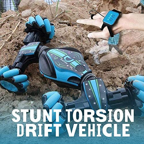 61v59CuliLL. AC  - Remote Control Stunt Toy Car,Twisting Off-Road Vehicle,360 Degree Flip Double Sided Rotating Race Car,2.4G Gesture Sensing with Four-Wheel Drive,Best Gift for Kids and Adults.(Blue