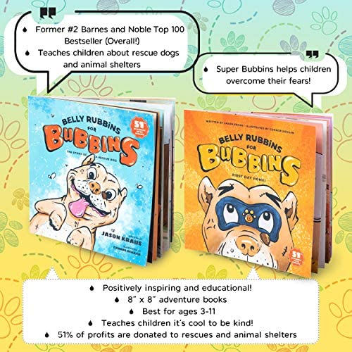 61vCcpvhc0L. AC  - Belly Rubbins for Bubbins Storybook & Plush Toy Set - 2 Children's Picture Books, Coloring Book with Crayons, Pit Bull Plushie, Storage Bag - Stories About Rescue Dog Adoption - Gifts for Kids Ages 3+