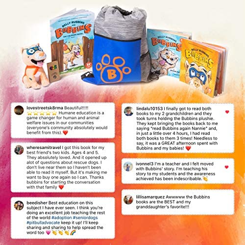61xQUbEZaTL. AC  - Belly Rubbins for Bubbins Storybook & Plush Toy Set - 2 Children's Picture Books, Coloring Book with Crayons, Pit Bull Plushie, Storage Bag - Stories About Rescue Dog Adoption - Gifts for Kids Ages 3+