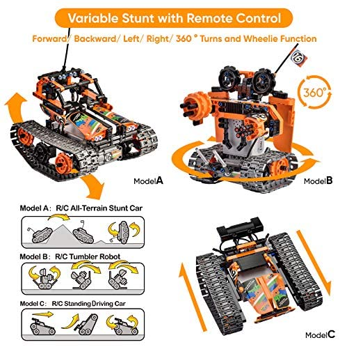 61y1IqL5NPL. AC  - OASO Remote Control STEM Building Kit for Boys 8-12, 392 Pcs Science Learning Educational Building Blocks for Kids, 3 in 1 Tracked Racer RC Car/Tank/Robot Toys Gift Sets for Boys Girls