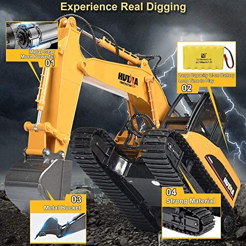 61y5m0HnO0L. AC  - KKNY Remote Control Excavator Toy 1/14 Scale RC Excavator 15 Channel 2.4Ghz Full Functional Construction Vehicles RC Truck with Lights Sounds Xmas Gift for Boys Kids(Upgrade) (1:14-1)