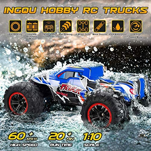61yP6vyz1uL. AC  - INGQU 1:10 Scale High Speed 60km/h 4WD Off-Road RC Car 2.4Ghz Brushless Remote Control Monster Truck