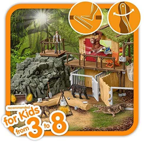 61z0QnSVgAL. AC  - Schleich Wild Life Crocodile Jungle Research Station with Jungle Animals 69-piece Playset for Kids Ages 3-8