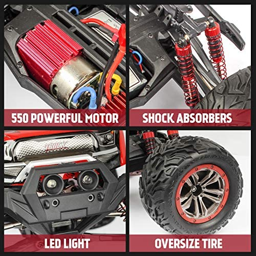 61zeU8XW6aL. AC  - Hosim 1:12 Scale 46+ kmh High Speed RC Cars - Boys Remote Control Cars 4WD 2.4GHz Off Road RC Monster Trucks for Adults Kids.Electric Power Radio Control Cars Gift for Children (Red)