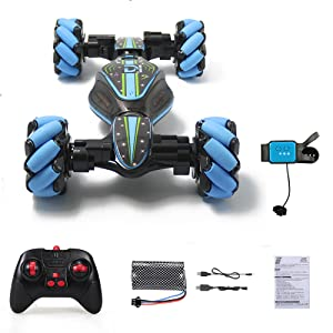 77166661 38fe 44a2 9ecf ace465154531.  CR0,0,1000,1000 PT0 SX300 V1    - GoolRC RC Stunt Car, 4WD 2.4GHz Remote Control Car, Deformable All-Terrain Off Road Car, 360 Degree Flips Double Sided Rotating Race Car with Gesture Sensor Watch Lights Music for Kids (Blue)