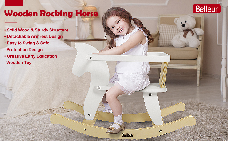 7800b023 146a 4b37 a803 a246da6361c5.  CR0,0,970,600 PT0 SX970 V1    - Belleur Wooden Rocking Horse for Baby, Toddler Wood Ride-on Toys for 1-3 Year Old, Boys & Girls Rocking Animal for Indoor & Outdoor Activities, Birthday White