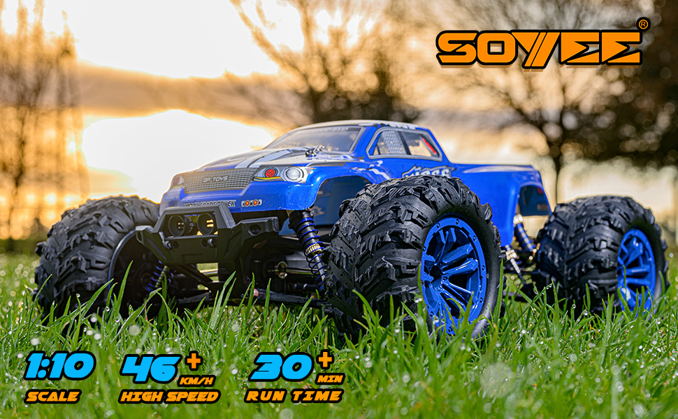 7a88c507 f85a 4fed a03b a3f3d8b68efe.  CR0,0,970,600 PT0 SX970 V1    - Soyee RC Cars 1:10 Scale RTR 46km/h High Speed Remote Control Car All Terrain Hobby Grade 4WD Off-Road Waterproof Monster Truck Electric Toys for Kids and Adults -1600mAh Batteries x2