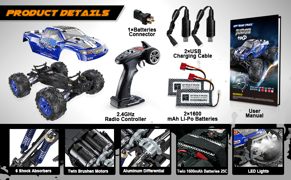 9b60a1a7 49ab 4f4f b128 8cf72f01f43a.  CR0,0,970,600 PT0 SX970 V1    - Soyee RC Cars 1:10 Scale RTR 46km/h High Speed Remote Control Car All Terrain Hobby Grade 4WD Off-Road Waterproof Monster Truck Electric Toys for Kids and Adults -1600mAh Batteries x2