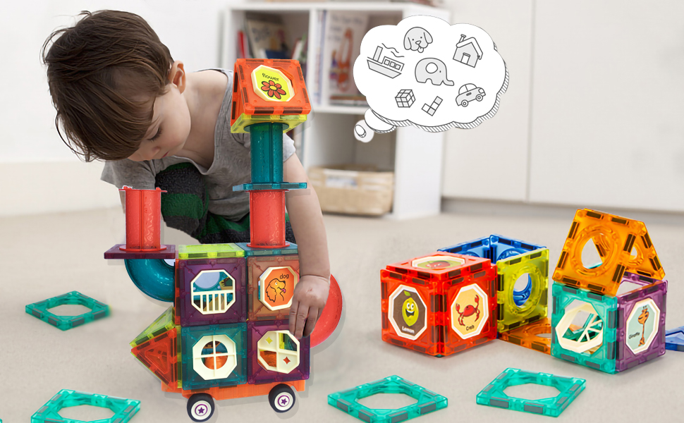 ac5b350f 19e6 4cf0 a4fe 97b6f4e594d4.  CR0,0,970,600 PT0 SX970 V1    - MAMABOO Magnetic Tiles Set 174 Piece Pipe Magnetic Building Blocks with Car for Kids 3D Clear Magnets Educational Toys Marble Run STEM Toy for Children Kids Boys Girls Age 3 4 5 6 7 8+ Year Old