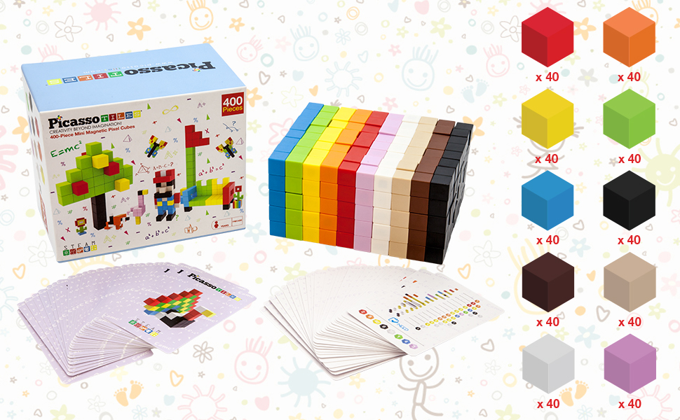 b6bc5b5c 105b 47f2 bab2 53a9b1100363.  CR0,0,970,600 PT0 SX970 V1    - PicassoTiles Mini Pixel Magnetic Puzzle Cube 400 Piece Mix & Match Cubes Sensory Toys STEAM Education Learning Building Block Magnets Children Construction Toy Set Stacking Magnet Creative Kit PMC400