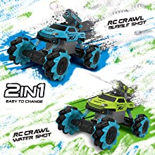 c04e3c9f 1527 41e5 b41b f5ffc7303162.  CR0,0,1600,1600 PT0 SX220 V1    - Remote Control Car for Kids 1:14 Scale 2.4GHz RC Cars 4WD All Terrain Off Road Monster Truck 3 Modes Transformation Radio Crawler, Water Cannon, Bubble Machine, for 4-12 Year Old Boys & Girls