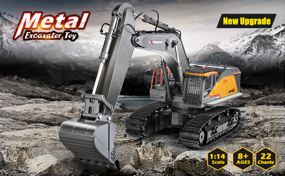 d84e27eb 2b7f 40a5 8c1c dab50276ae92.  CR0,0,970,600 PT0 SX970 V1    - kolegend Remote Control Excavator Toy 1/14 Scale RC Excavator, 22 Channel Upgrade Full Functional Construction Vehicles Rechargeable RC Truck with Metal Shovel and Lights Sounds