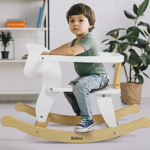 ea973ab9 3ffc 4dbf b485 e8f448cec175.  CR0,0,300,300 PT0 SX300 V1    - Belleur Wooden Rocking Horse for Baby, Toddler Wood Ride-on Toys for 1-3 Year Old, Boys & Girls Rocking Animal for Indoor & Outdoor Activities, Birthday White
