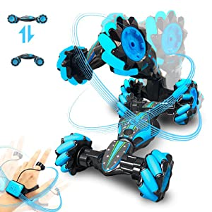 f7d222cf 4fa0 40c8 82f7 3960313646de.  CR0,0,800,800 PT0 SX300 V1    - GoolRC RC Stunt Car, 4WD 2.4GHz Remote Control Car, Deformable All-Terrain Off Road Car, 360 Degree Flips Double Sided Rotating Race Car with Gesture Sensor Watch Lights Music for Kids (Blue)
