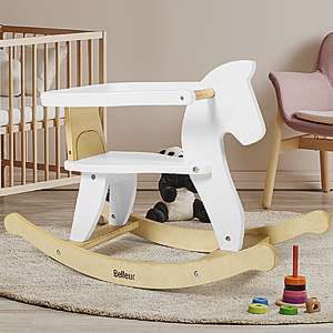 facded48 ef81 464f bbeb 0ca8d889a551.  CR0,0,300,300 PT0 SX300 V1    - Belleur Wooden Rocking Horse for Baby, Toddler Wood Ride-on Toys for 1-3 Year Old, Boys & Girls Rocking Animal for Indoor & Outdoor Activities, Birthday White