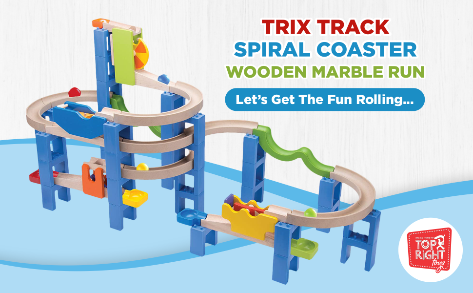 05353880 4469 45bb 8bcd 924773465925.  CR0,0,970,600 PT0 SX970 V1    - Top Right Toys Trix Track Spiral Coaster Wooden Marble Run for Kids with 55 Construction Pieces and 4 Balls. Maze Assembly Instructions Included