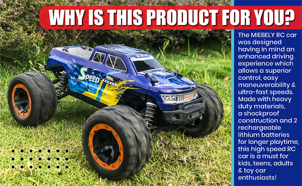 0869f0e2 d5b2 469a b567 afc5deb7a754.  CR0,0,970,600 PT0 SX970 V1    - MIEBELY Fast RC Cars – 4x4 Remote Control Car for Adults and Kids – 1:16 Scale Electric Powered 40km High Speed – 4WD All Terrain Off Road Truck – Ideal for Kids and Adults – 2 Rechargeable Batteries
