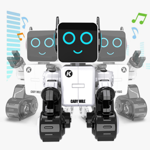 15f274ee 6f72 4ea7 927e 8bd7378c4e77.  CR0,0,300,300 PT0 SX300 V1    - Robots for Kids, Remote Control Robot Toy Intelligent Interactive Robot LED Light Speaks Dance Moves Built-in Coin Bank Programmable Rechargeable RC Robot Kit (White)