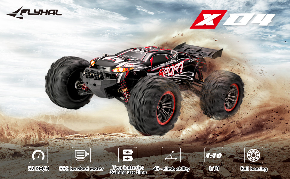 24c0997d 8b72 485a 83df e442e3a1c40e.  CR0,0,970,600 PT0 SX970 V1    - FLYHAL X04 PRO Remote Control Car RC Car 52km/h 32MPH 1:10 Scale 4WD Off-Road Rc Car for Adults and Kids Replaceable Car Shell 2.4 GHz Truck (2 Batteries)