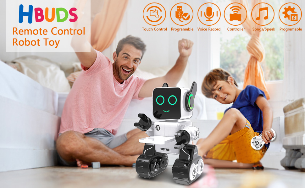 2d83a4e0 495d 474d 80a4 c3b545327825.  CR0,0,970,600 PT0 SX970 V1    - Robots for Kids, Remote Control Robot Toy Intelligent Interactive Robot LED Light Speaks Dance Moves Built-in Coin Bank Programmable Rechargeable RC Robot Kit (White)