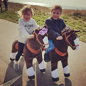 2ef3ca75 9d45 4122 980d 174f8d9dde2e. CR0,0,1080,1080 PT0 SX300   - PonyCycle Official Ride-On Horse No Battery No Electricity Mechanical Pony Brown with White Hoof Giddy up Pony Plush Walking Animal for Age 4-9 Years Medium Size - N4151