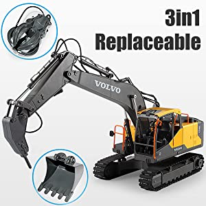 34ab83c5 7390 4494 af52 c994082f7acf.  CR0,0,600,600 PT0 SX300 V1    - Mostop 3 in 1 Remote Control Excavator with 2 Tools 2.4G Construction Truck with Sounds 660 ° Rotation Toy for Kids